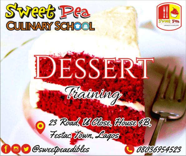 Take your food skills to the next level with amazing, mouthwatering desserts. So much to choose from! • Trifles - Pies - Tarts • Exotic cakes (red velvet, black forest, swiss roll) • Ice cream and so much more • Detailed training workbook • Practical, hands-on classes • Certification • Free-after training consultation