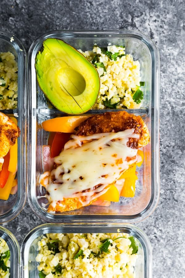 overhead shot of the Santa Fe Low Carb Chicken Meal Prep