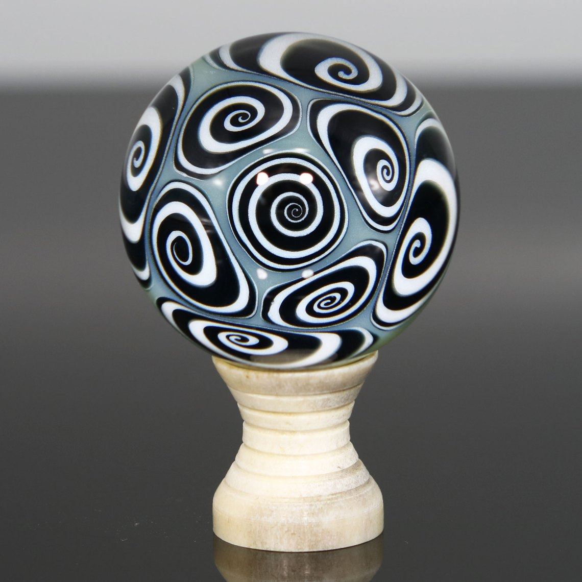 Kaja Glass – Green Microspiral Marble