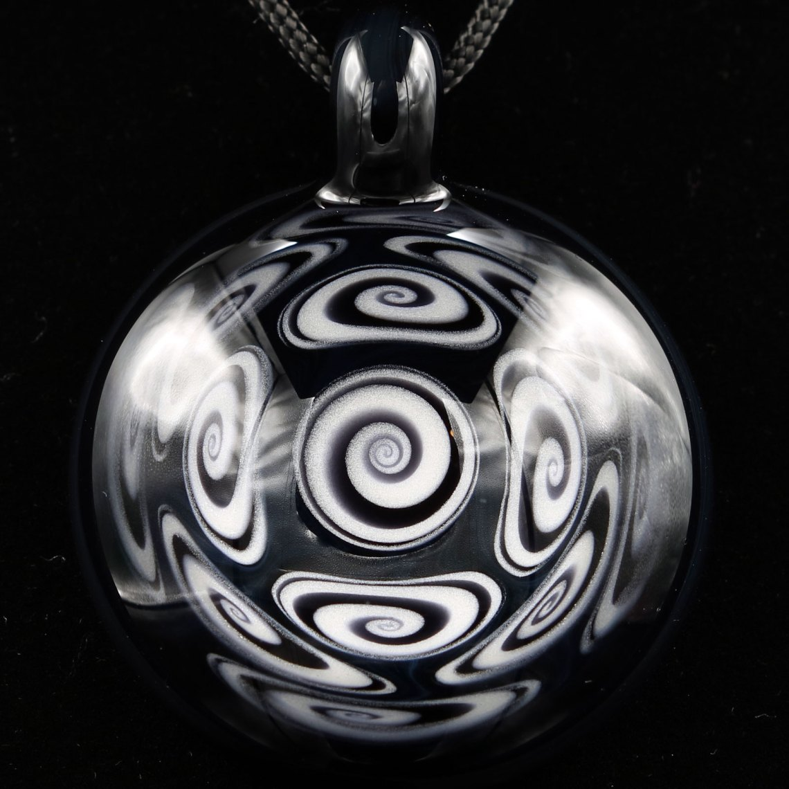 Kaja Glass – 13 Section Black and White Microspiral Glass Pendant