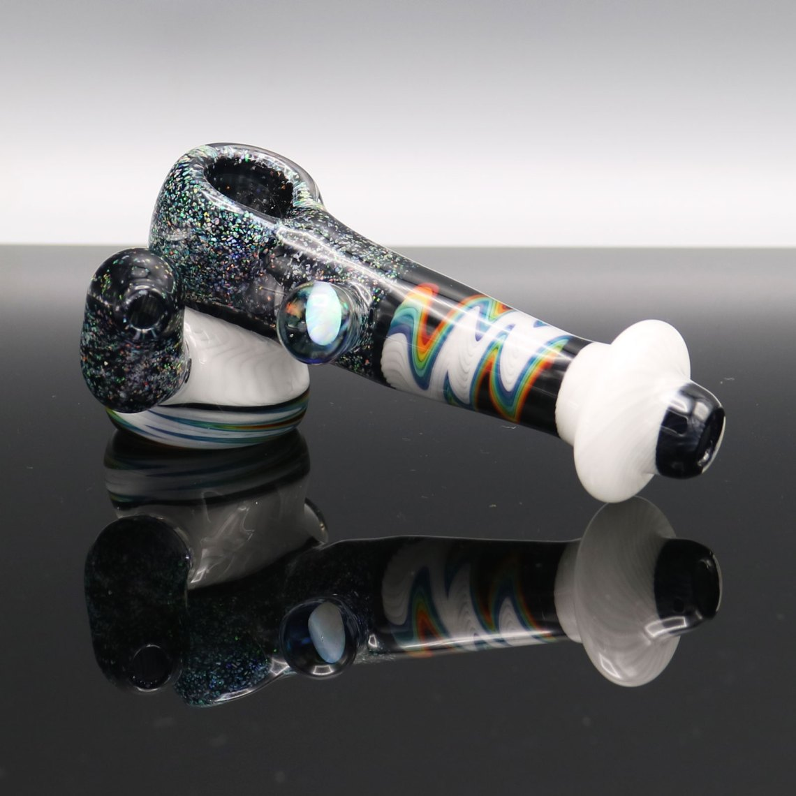 Chappell Glass – White Crushed Opal Mini Hammer