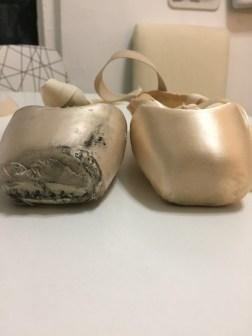 Dead v. new pointe shoe