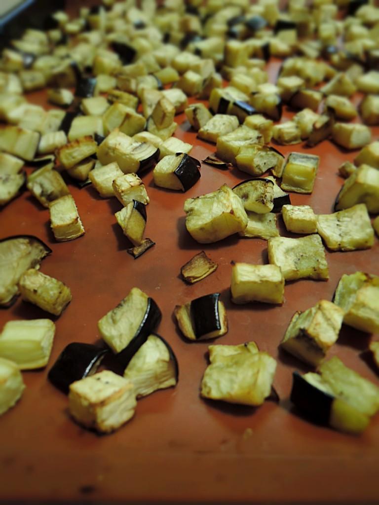 close up of roasted eggplant
