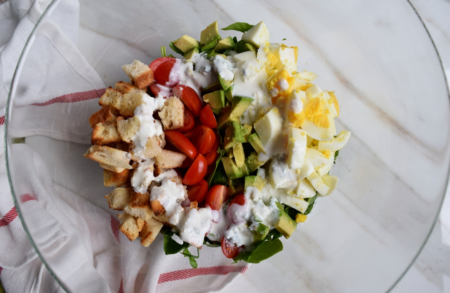 veggie cobb salad with homemade blue cheese dressing.1