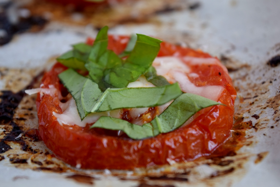 Roasted tomatoes with cheese and basil.2