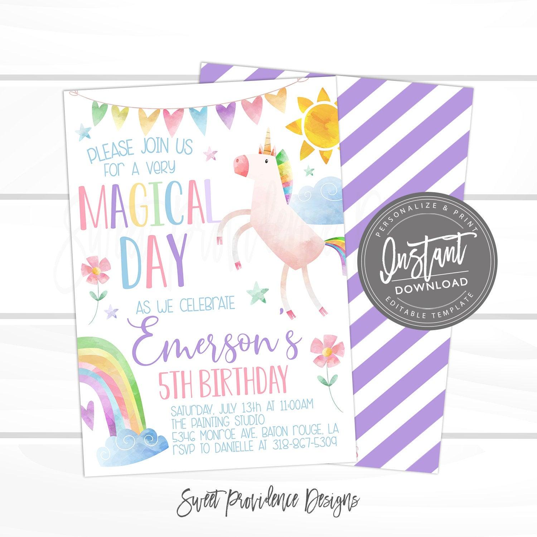 unicorn birthday invitation unicorn invitation template magical celebration editable girl rainbow birthday invite template instant access