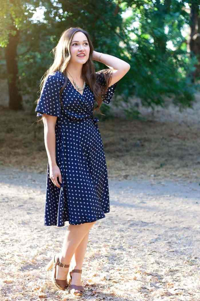 The Pippa Wrap Dress PDF Sewing Pattern from Designer Stitch in blue and white voile