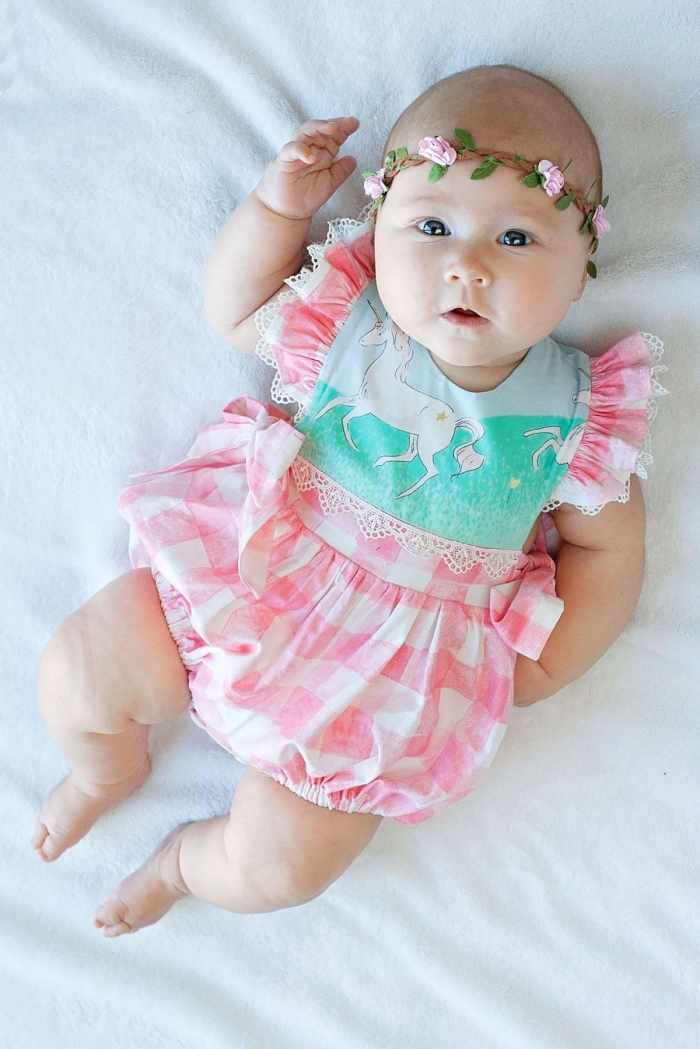 M4M Hampton Baby Romper PDF Sewing Pattern in Sarah Jane Magic and Sommer Fabric from Michael Miller Fabrics