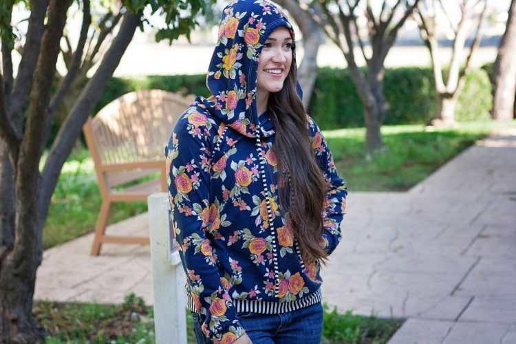 Hey June Handmade Lane Raglan Hoodie in Floral Fabric PDF Sewing Pattern