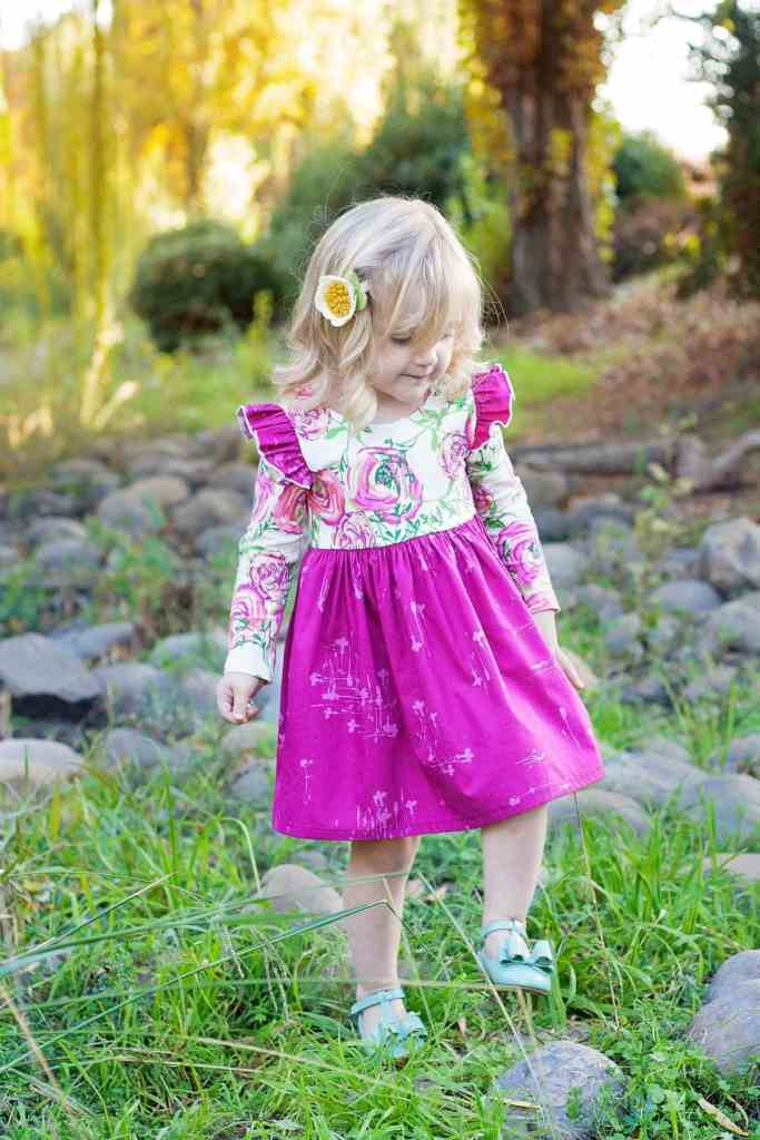 Simple Life Company Isla Knit Dress PDF Sewing Pattern Joie De Vivre Paradis Sweet Knit Sunprint Orchid Lavish Art Gallery Fabrics