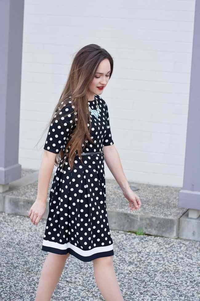 black and white polka dot dress sewing pattern