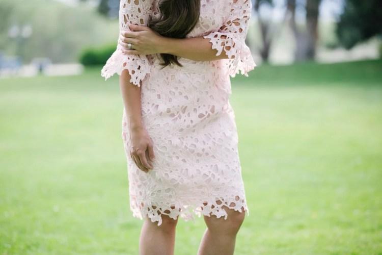 McCall's M7085 Joann Fabrics Pink Blush Lace Dress Sewing Pattern