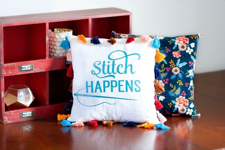 How to use a Cricut machine Free SVG using Aqua Vinyl HTV DIY Tassel Pillow Sweet Red Poppy Sewing Tutorial Cotton And Steel Les Fleurs Fabrics Rifle Paper Co.