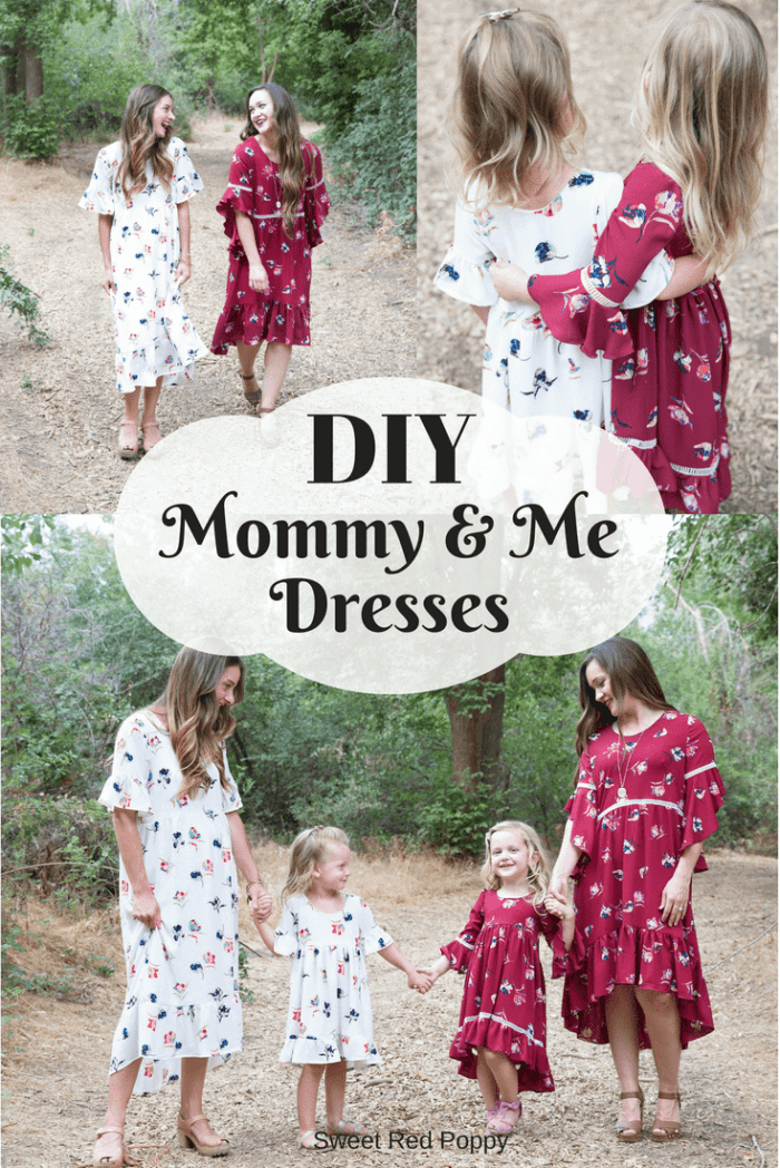 DIY sewing Mommy and Me Matching Dresses Stylish Fabrics white and burgundy
