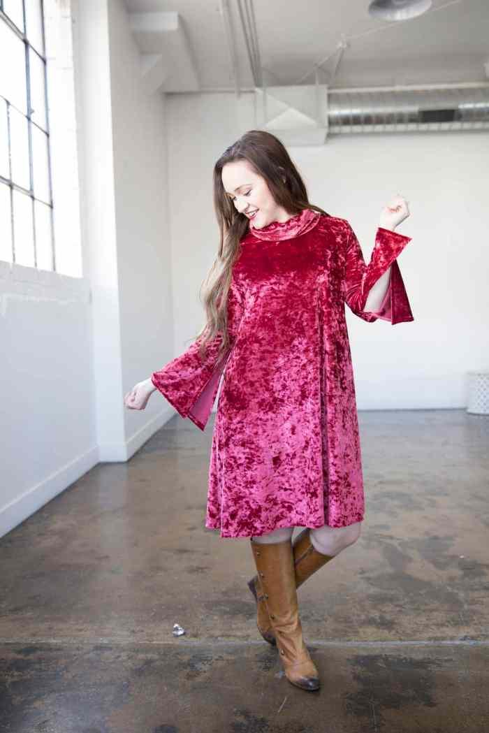 Crushed Velvet Swing Dress Sewing Pattern Simplicity Patterns