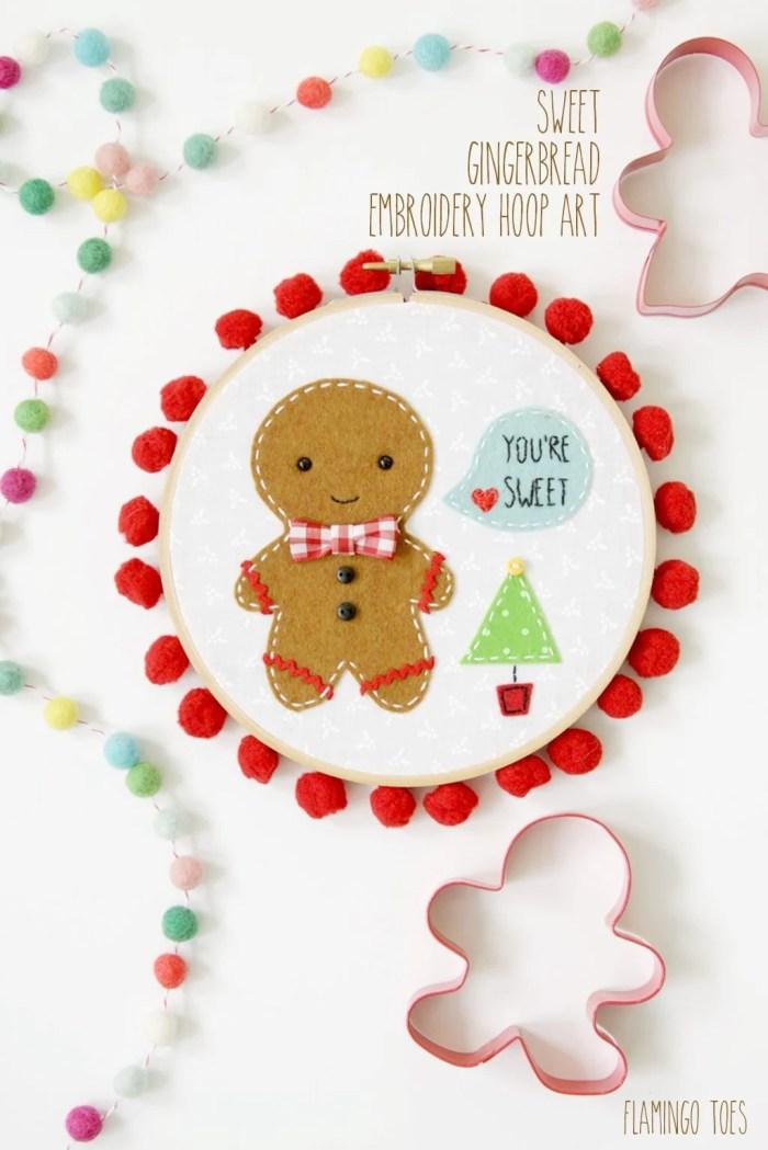 Flamingo Toes Sweet Gingerbread Embroidery Hoop Art