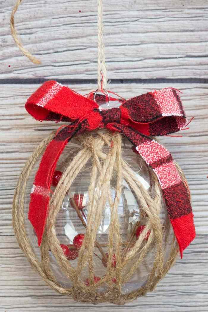 Mod Podge Clear Plastic Christmas Ornament Twine Tutorial