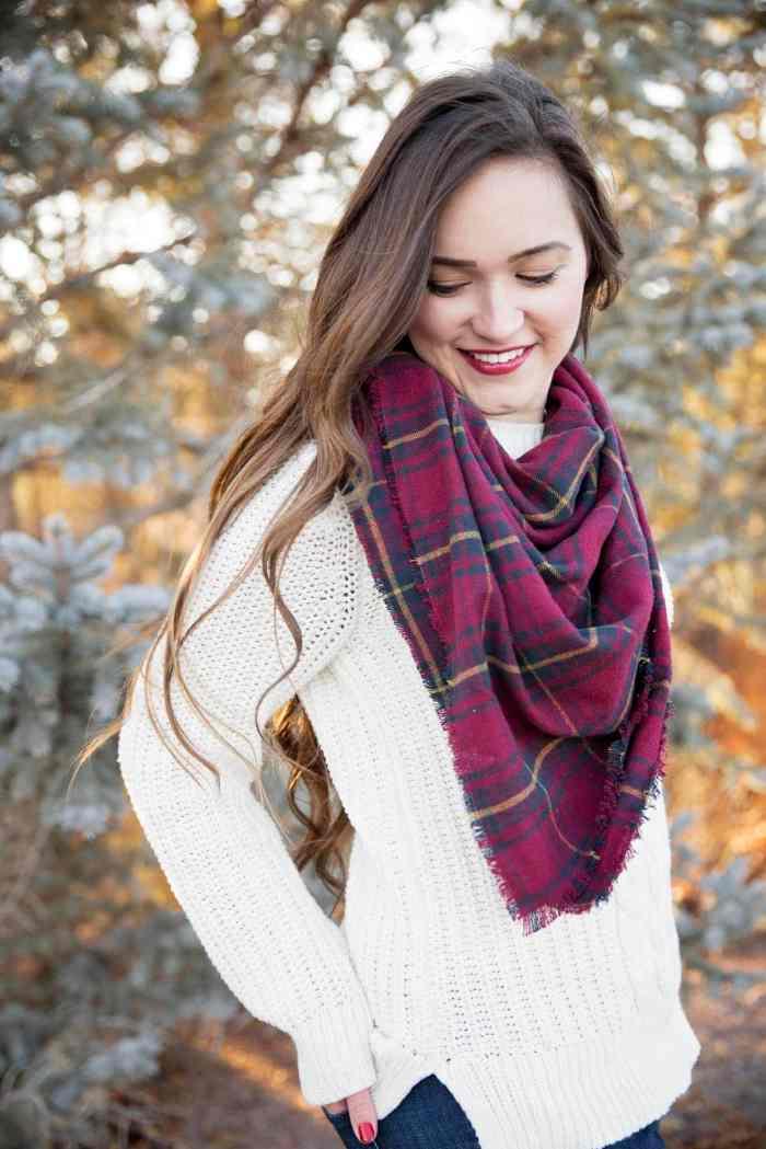 No-Sew Fringe Blanket Scarf Tutorial