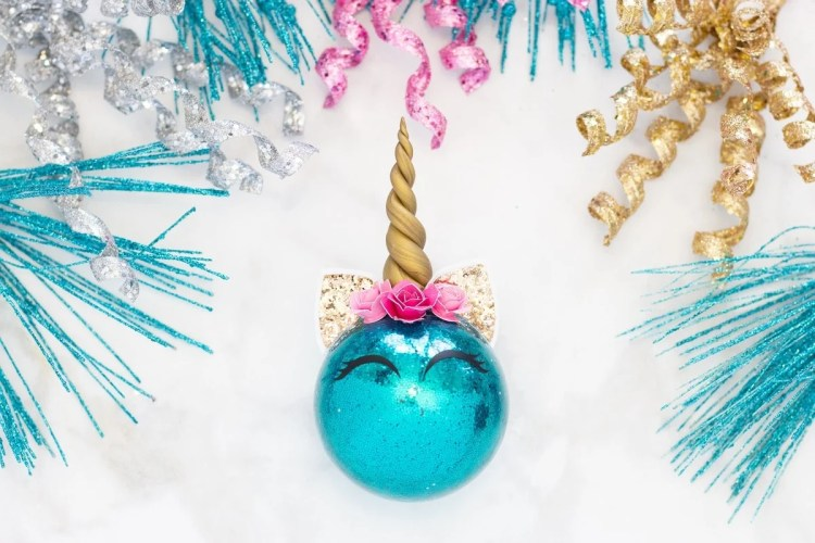 Glitter Unicorn Horn Christmas Ornaments Sweet Red Poppy