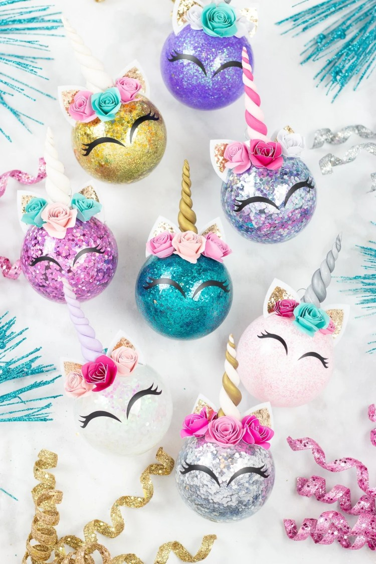 glitter unicorn horn christmas ornaments - Unicorn Christmas Decorations