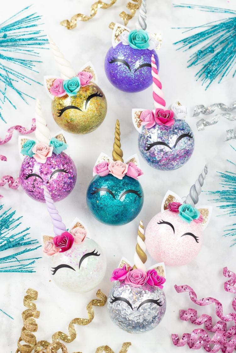 Unicorn Glitter Christmas Ornament DIY Tutorial