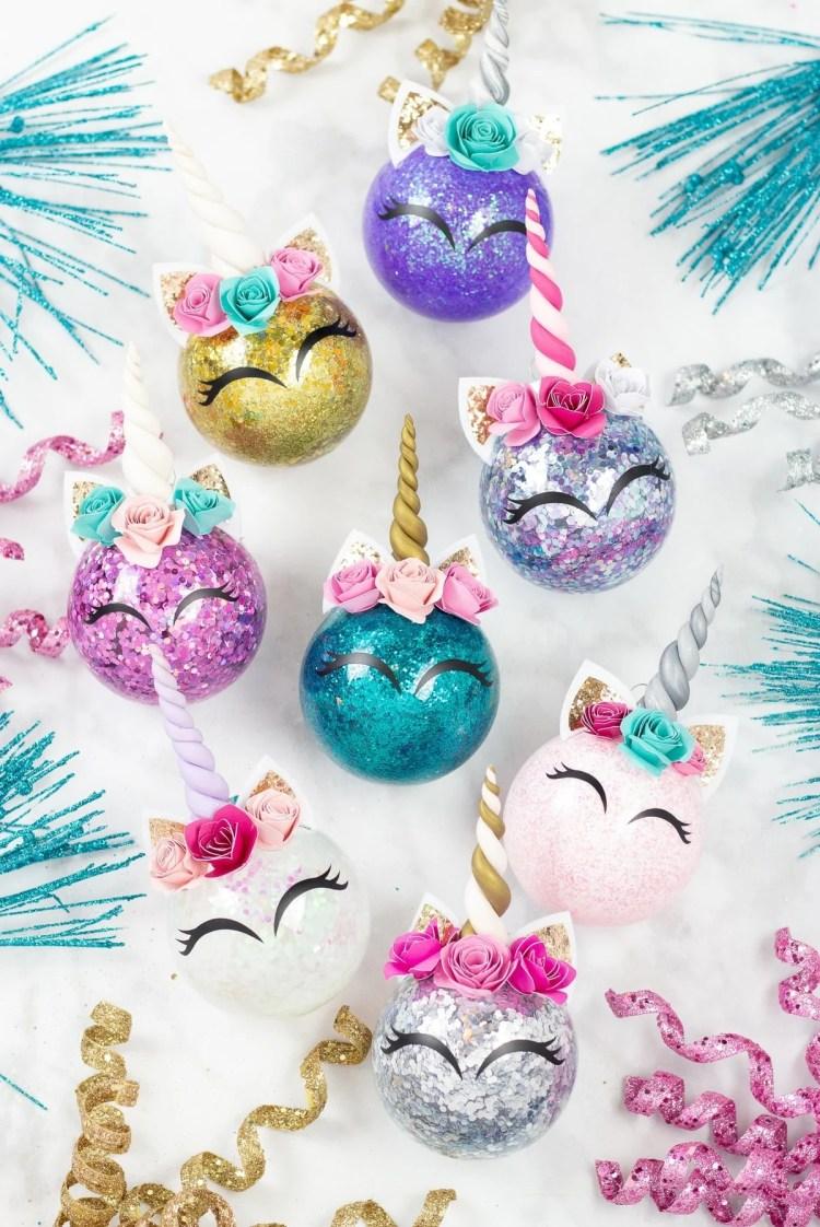 unicorn glitter christmas ornament diy tutorial