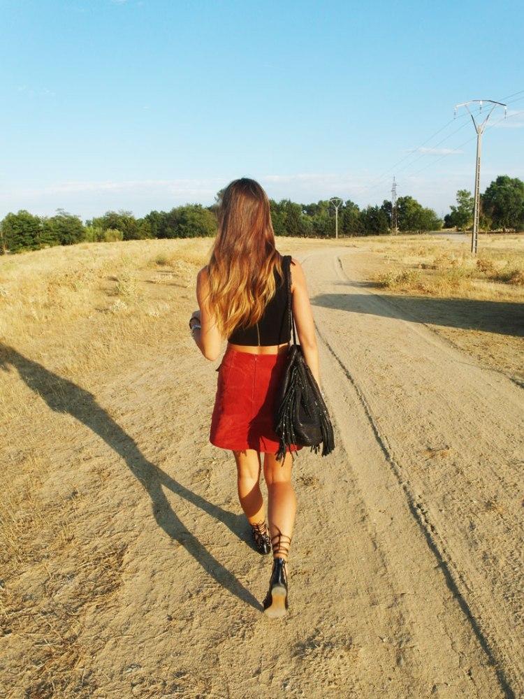 SweeTrendy - falda rojo teja