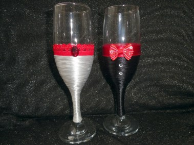 Handmade champagne toasting flutes on Facebook page (white and red)