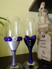 Whitehite and purple handmade wedding flutes