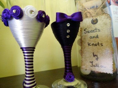 White and purple handmade wedding flutes