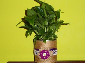 handmade lace and twine flower pot 1