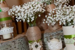 Twine and lace flower vases, handmade with love by me. Flowers by Floraria Ema