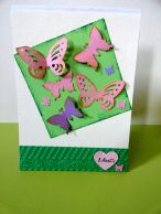 Spring is here - Pink butterflies card