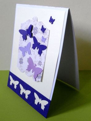 Breaking free and taking off - Purple butterflies card