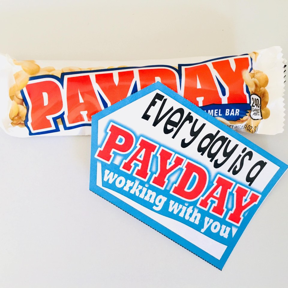 PayDay candy bar tags for teachers