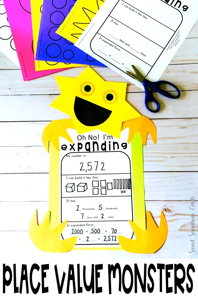 Place Value Ideas for Grades 1 and 2. Make these simple expanded form monsters to review place value and decorate your halls with creatures as cute as your students!