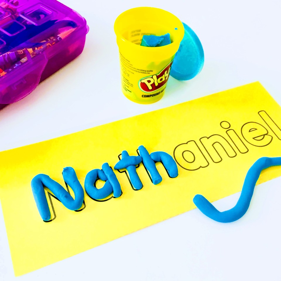 Name outlines for mosaics, coloring, bingo daubers, paint and play-doh activities.