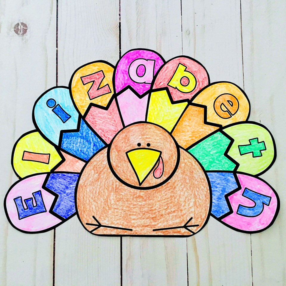 editable personalized turkey name recognition craft