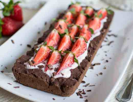 Gluten free vegan strawberry chocolate tart homemade with natural flours egg corn dairy free