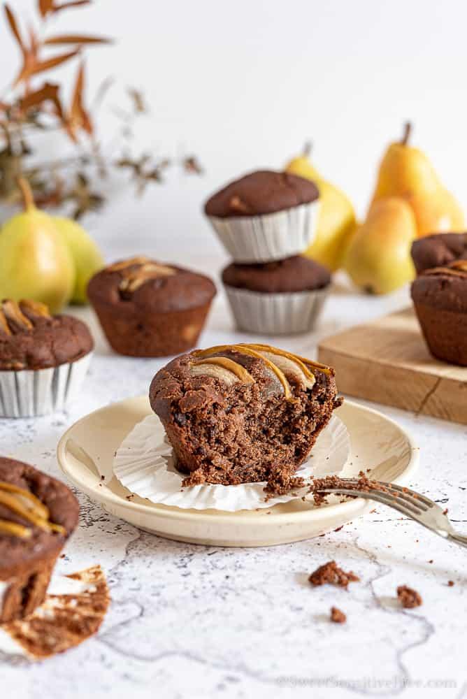 Soft Vegan gluten free chocolate pear muffins