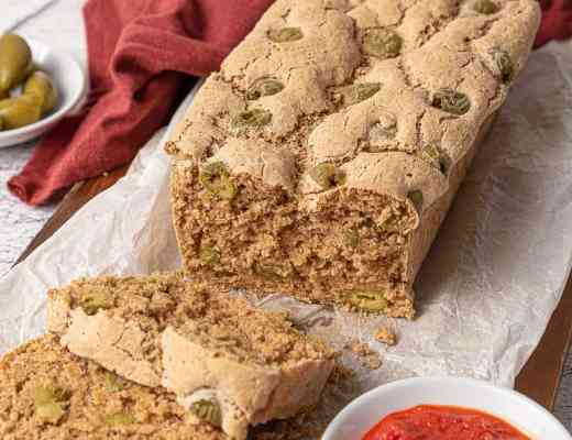 sliced gluten free millet bread with olives