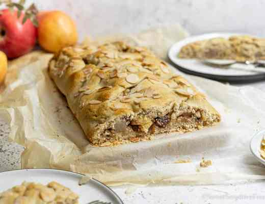 Vegan gluten free apple strudel with homemade tart crust without butter and eggs