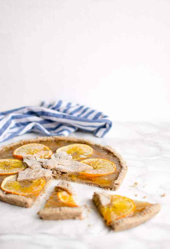 Recipe for gluten dairy egg free vegan tart pie with gingerbread crust and orange jam