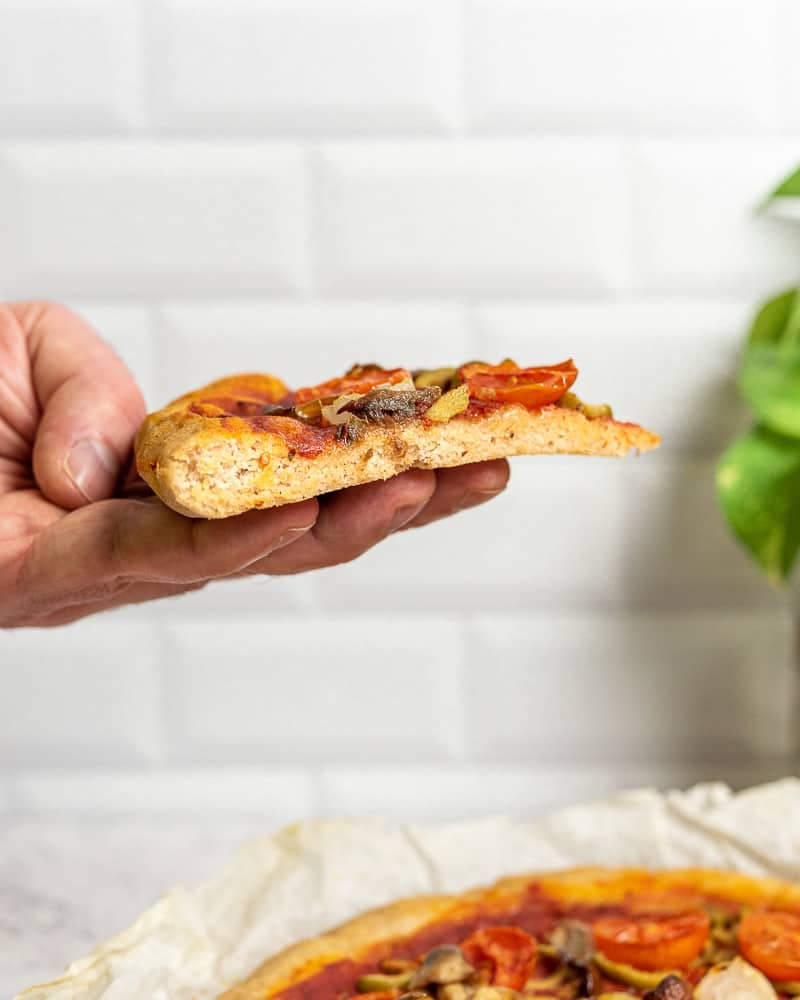 Gluten free long rising pizza slice