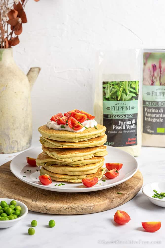 Pancake salati senza glutine vegan con farina di piselli verdi Molino Filippini