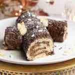 gluten free vegan yule log cake with chocolate filling