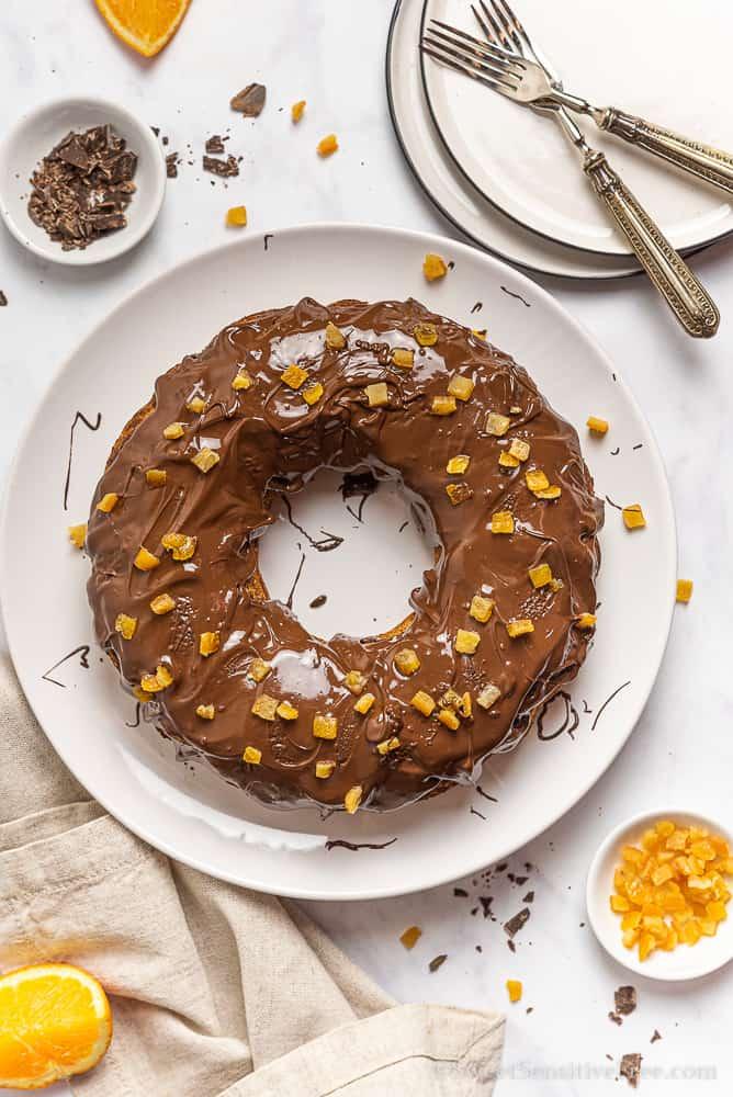 gluten free bundt cake glazed with chocolate