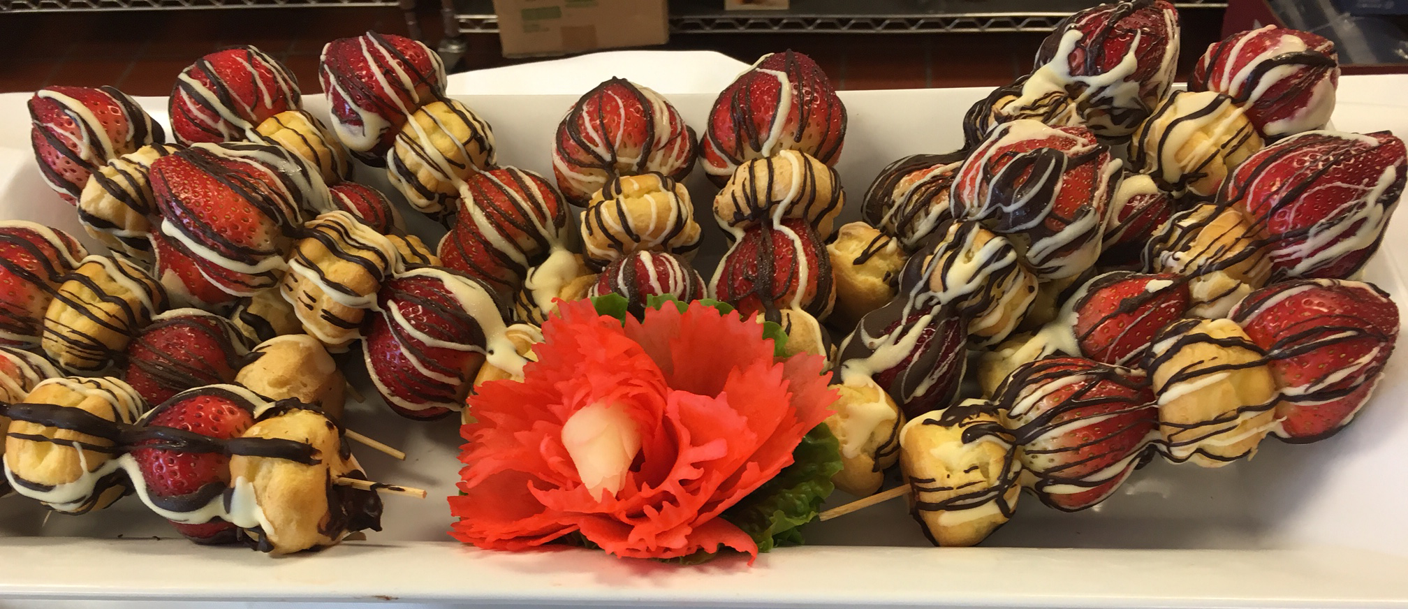 Chocolate Drizzled Cream Puff Fresh Strawberry Kabobs