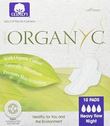 Organyc 100% Certified Organic Cotton Feminine Pads, best organic pads for postpartum recovery