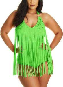 JIANLANPTT Pretty Padded One Piece Fringed Swimwear, Best Plus Size Monokini, best plus size swimwear